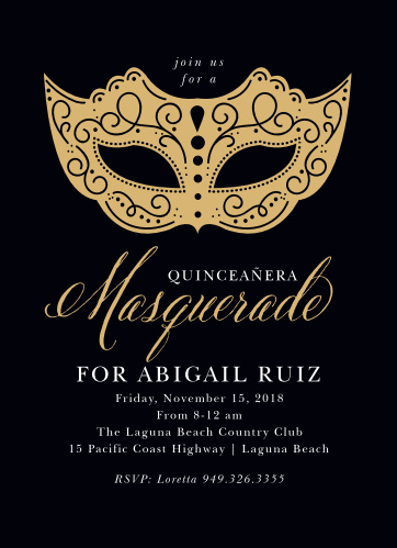 masquerade mask foil quinceañera invitations by basic invite