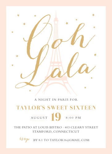 Paris Birthday Invitations Match Your Color Style Free