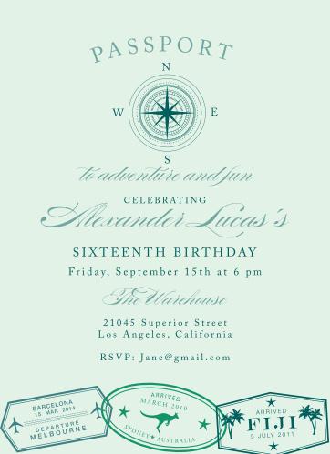 Passport Passage Sweet Sixteen Party Invitations
