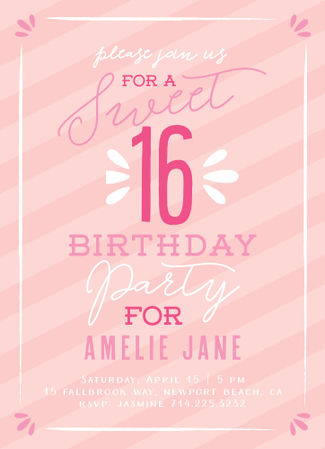 Sugar Sweet Sixteen Party Invitations