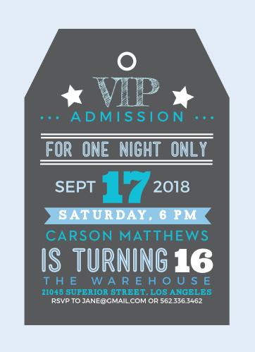 VIP Tag Sweet Sixteen Party Invitations