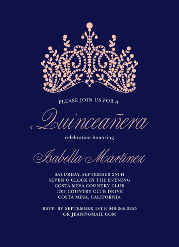 Princess Quince Quinceanera Party Invitations