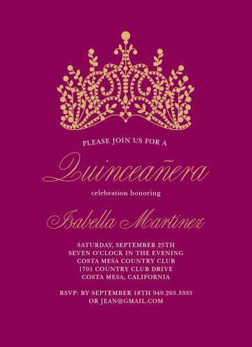 Quinceanera Invitations Match Your Color Style Free Basic Invite