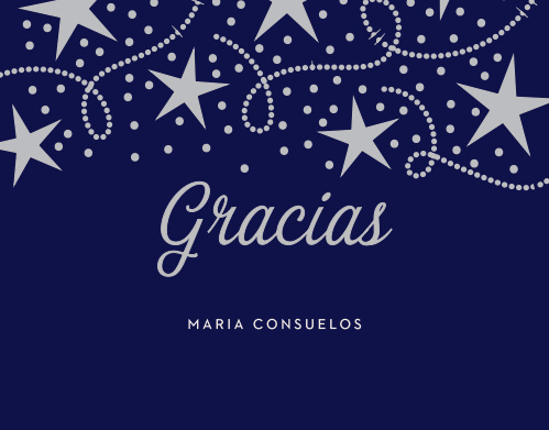 Star Spangled Foil Quinceañera Thank You Cards
