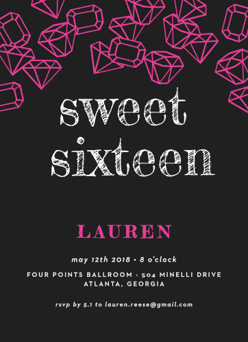 Scattered Jewels Sweet Sixteen Party Invitations