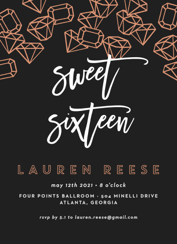 Scattered Jewels Foil Sweet Sixteen Party Invitations
