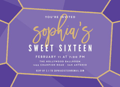 Glittery Gemstone Foil Sweet Sixteen Party Invitations