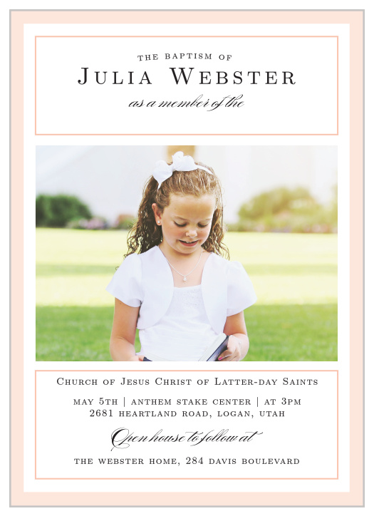 LDS Baptism Invitations | Match Your Color & Style Free