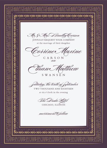 49ac0275a513 Ornate Frame Foil Wedding Invitations