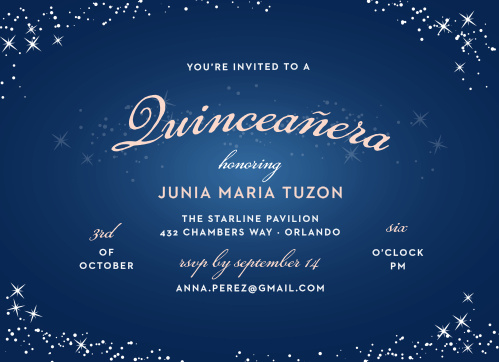 c8b934f4281 Sparkle Dust Quinceañera Party Invitations