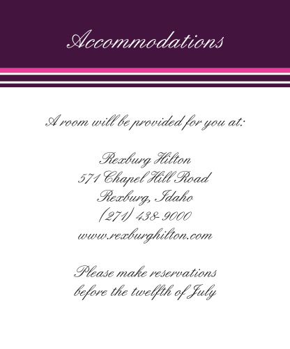 Ribbon and Damask Accommodation Cards