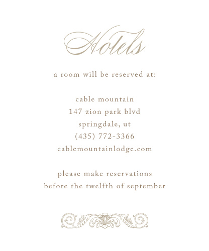 Lace Couture Accommodation Cards
