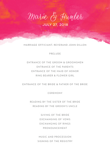watercolor wedding programs match your color style free
