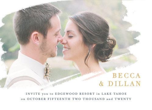 Brushstroke Bliss Foil Wedding Invitations