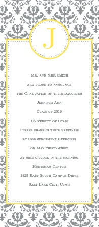 formal damask graduation announcement