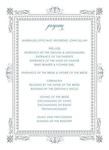 victorian wedding programs match your color style free
