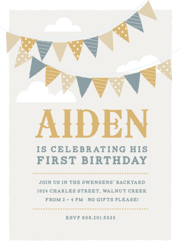 Festival Bunting Foil First Birthday Invitations