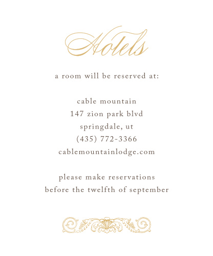 Lace Couture Foil Accommodation Cards