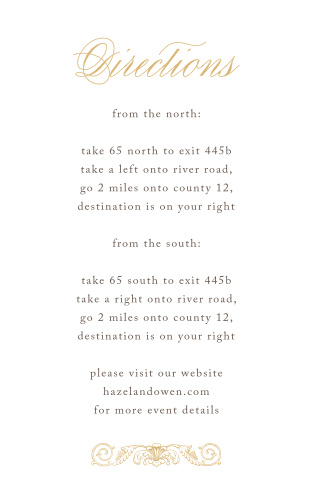 Lace Couture Foil Direction Cards