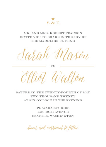 Foil Stamped Wedding Invitations | Gold, Silver & Rose Gold | Basic