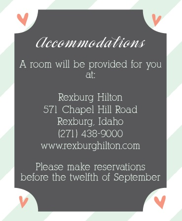 Ribbons and Confetti Accommodation Cards