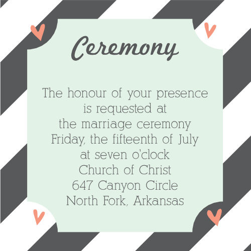 Ribbons and Confetti Ceremony Cards