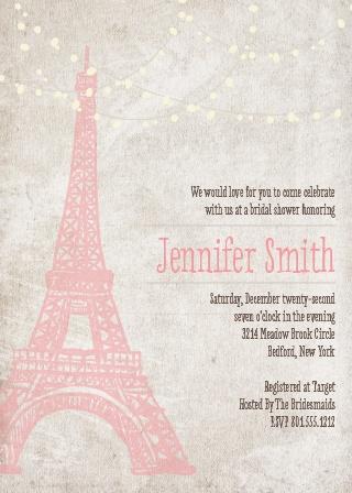 paris tower bridal shower invitation