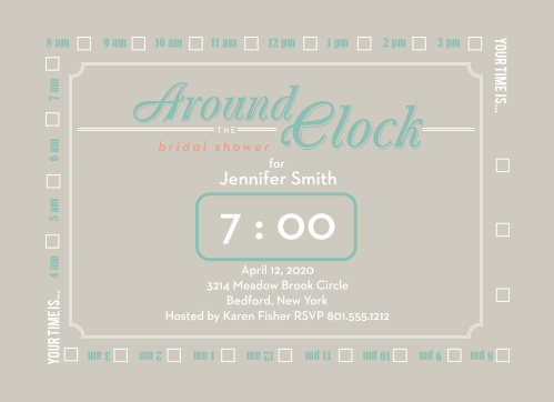 Around The Clock Bridal Shower Invitations Match Your Color