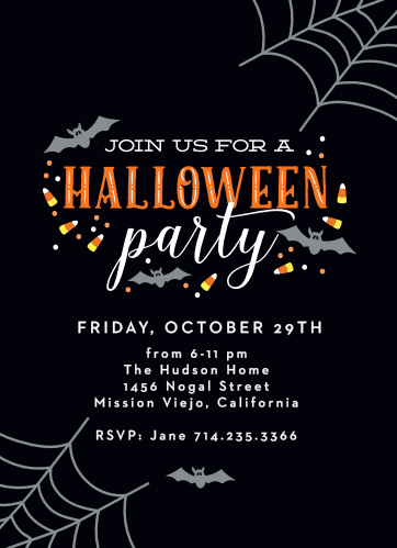 Spiderwebs Halloween Party Invitations