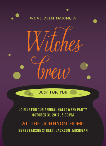 Witches Brew Halloween Party Invitations