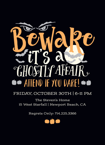 Ghostly Affair Halloween Party Invitations