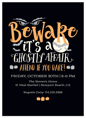 Scary Halloween Party Invitations - Match Your Color & Style