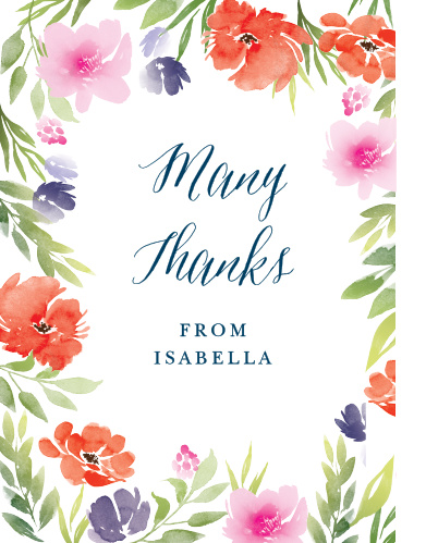 Watercolor Garden Baby Shower Thank You Cards
