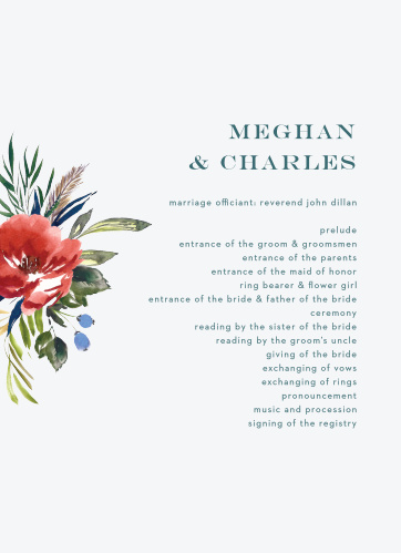 Arctic Florist Wedding Programs