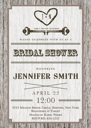 carved wood bridal shower invitation