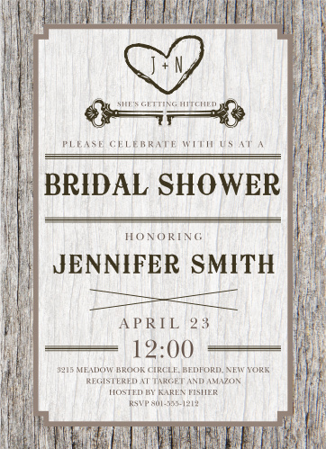 Carved Wood Bridal Shower Invitations
