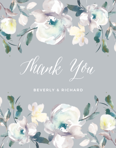 Antique Blooms Wedding Thank You Cards