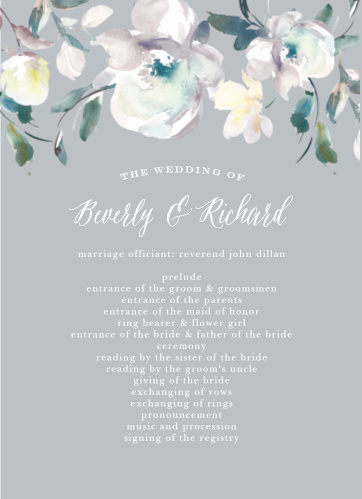 Antique Blooms Wedding Programs