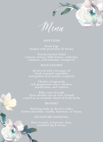 Antique Blooms Wedding Menus