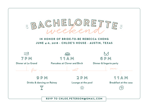 Illustrated Itinerary Bachelorette Party Invitations