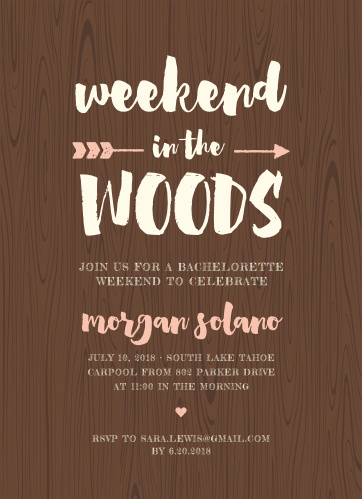 Weekend In The Woods Bachelorette Party Invitations