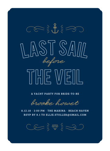 Nautical Night Foil Bachelorette Party Invitations