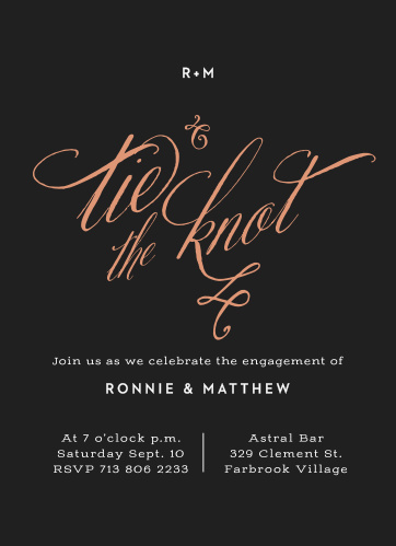 Black Tie Foil Engagement Party Invitations By Basic Invite