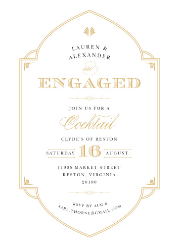 deco frame foil engagement party invitations