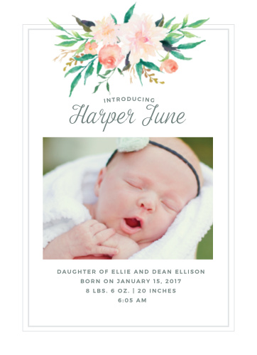 baby girl birth announcements photo and no photo announcements