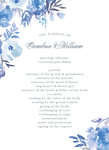 Comely Wildflowers Wedding Programs