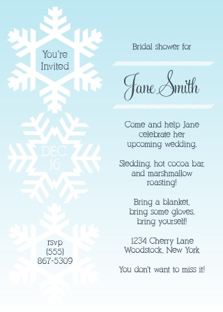 winter snowflakes bridal shower invitation