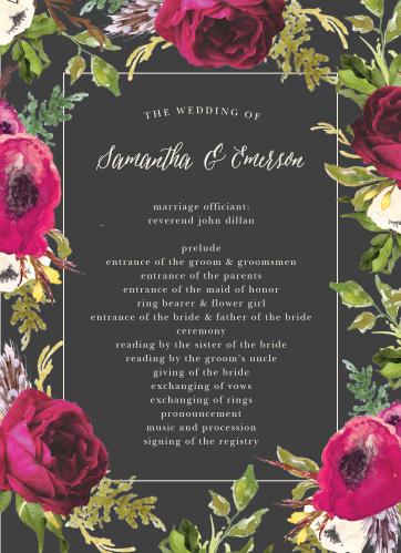 Garden Romance Wedding Programs