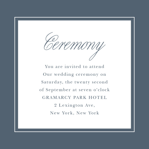 Elegant Aristocrat Ceremony Cards