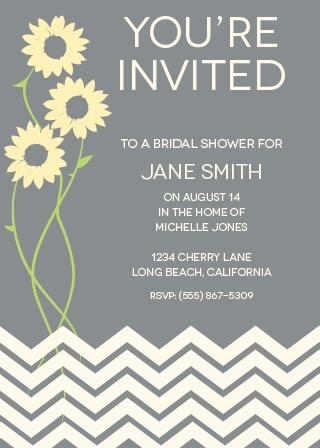 sunflower chevron bridal shower invitation